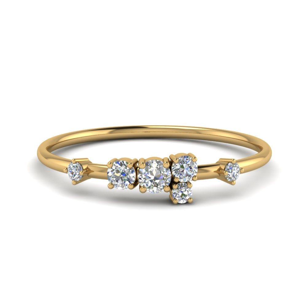 Round Cut Asymmetrical Diamond Engagement Ring In 14K Yellow Gold