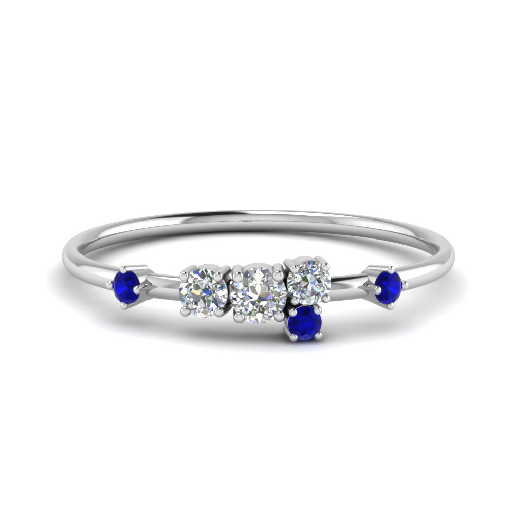 Round Cut Asymmetrical Diamond Engagement Ring With Blue Sapphire In 14K White Gold