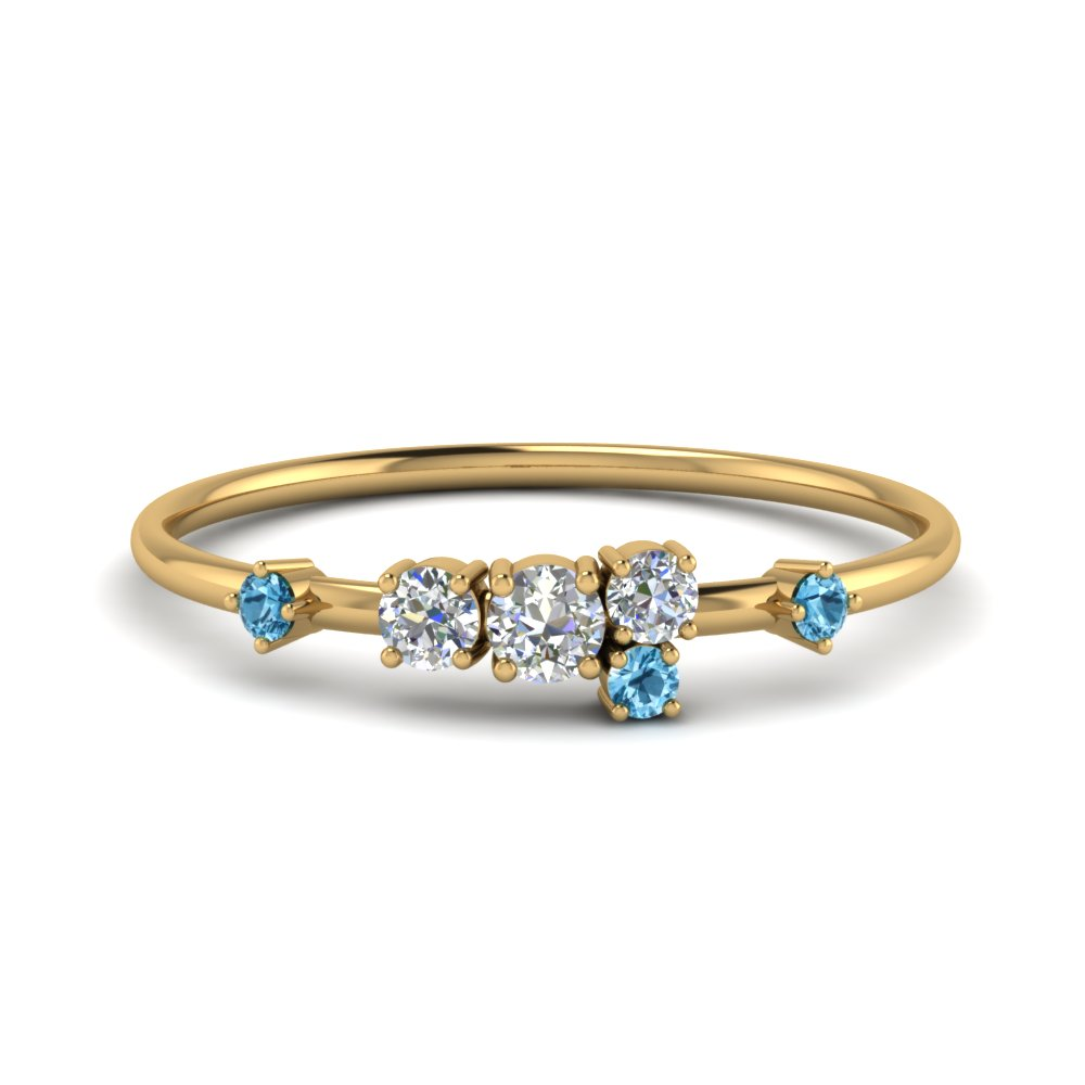 Asymmetrical Blue Topaz Ring
