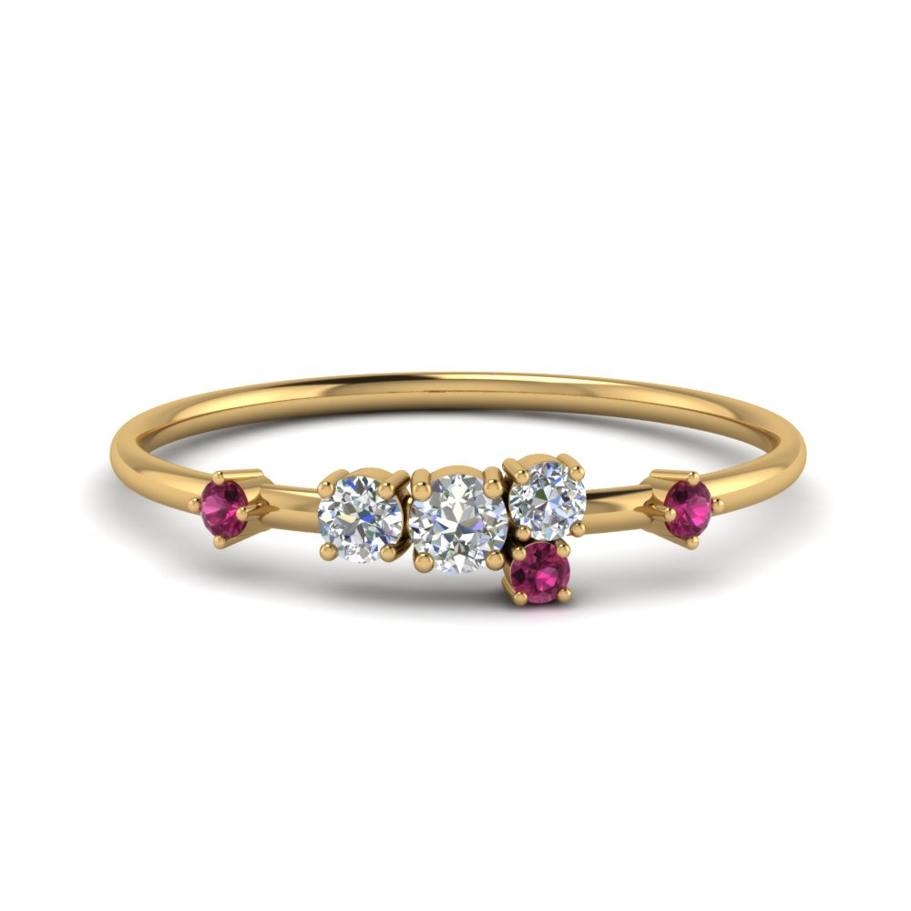 round cut asymmetrical diamond engagement ring with pink sapphire in 14K yellow gold FD8354RORGSADRPI NL YG