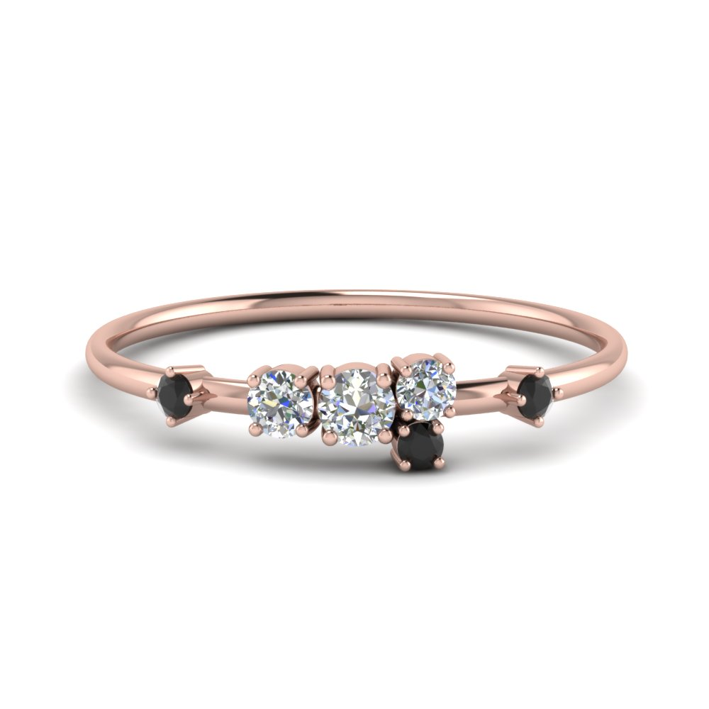 Round Cut Asymmetrical Diamond Engagement Ring In 14K Rose Gold