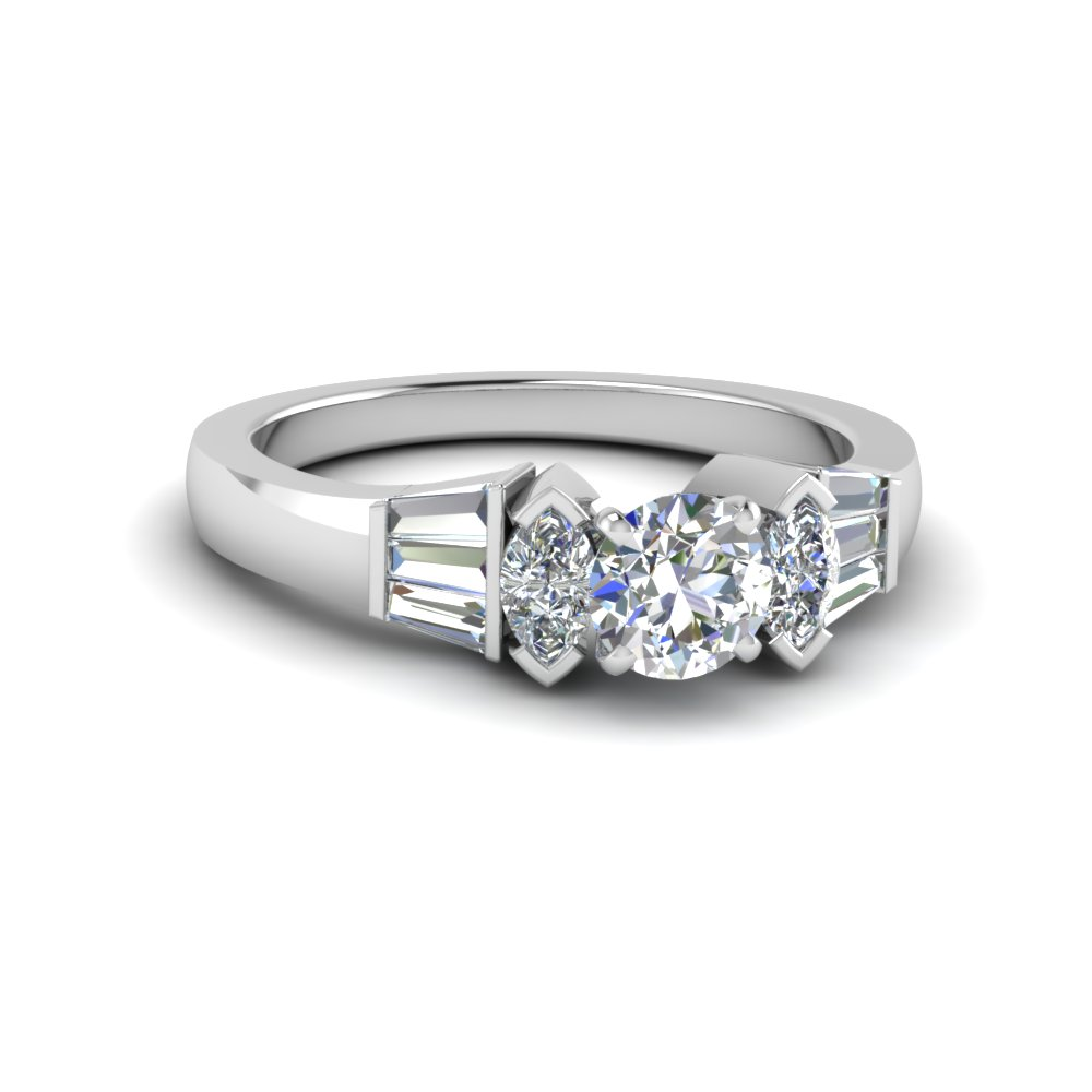 round cut baguette bar and marquise diamond engagement ring in FDENR1120ROR NL WG
