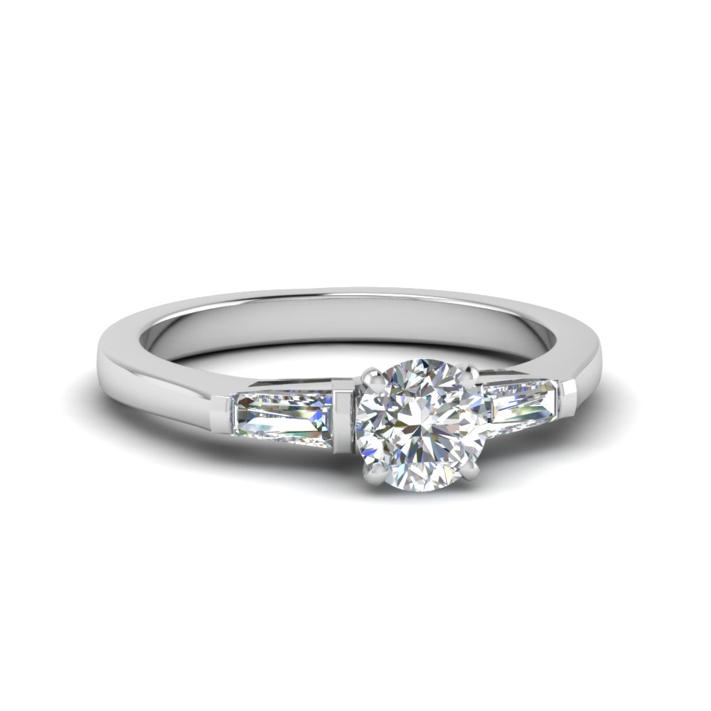 round cut 3 stone engagement ring with baguette in FDENS100ROR NL WG