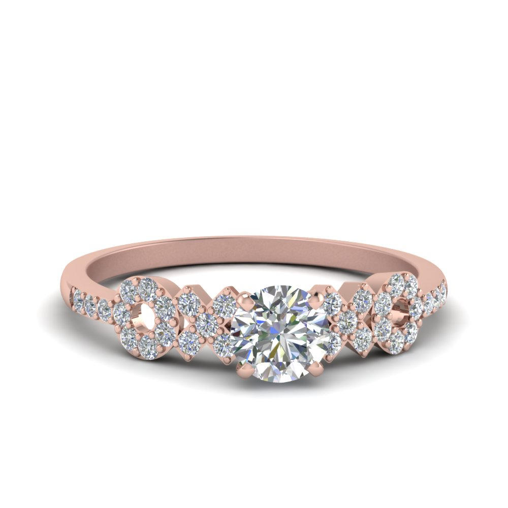 round cut beautiful X O design diamond engagement ring in 14K rose gold FDENS3043ROR NL RG