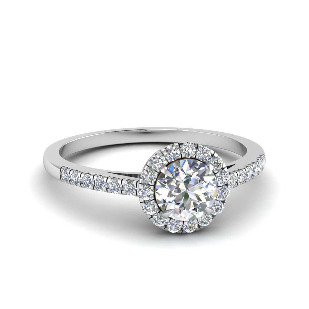beautiful french pave halo diamond engagement ring in FD1024ROR NL WG