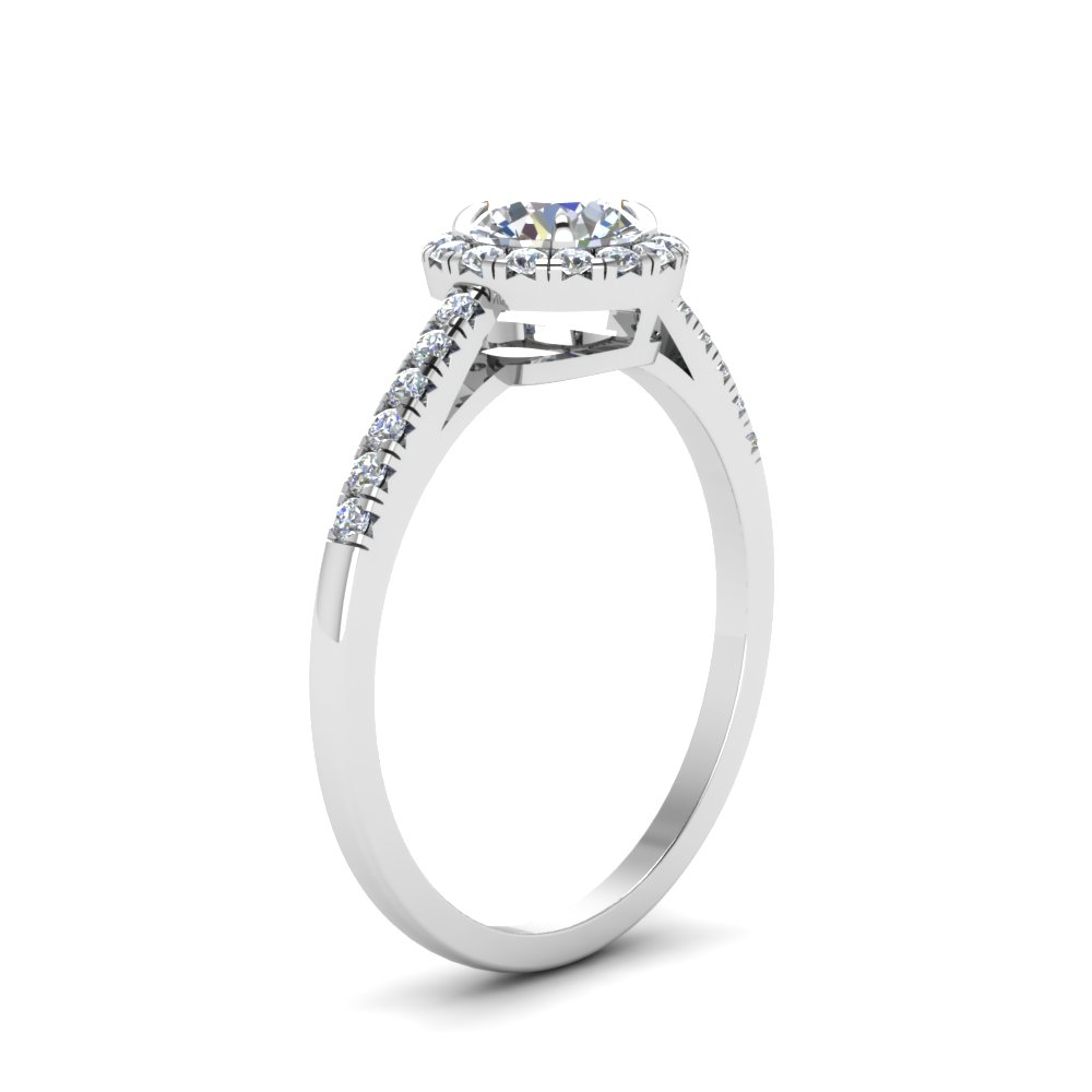 Round Cut Beautiful French Pave Halo Diamond Engagement Ring In ...