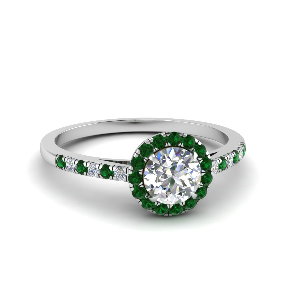 9776fa1d066 beautiful french pave halo diamond engagement ring with emerald in  FD1024RORGEMGR NL WG