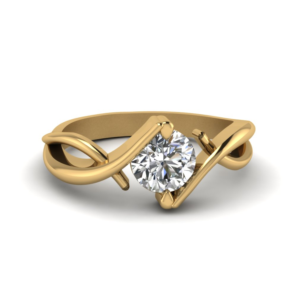 beautiful twist single diamond engagement ring in 14K yellow gold FDENR9500ROR NL YG