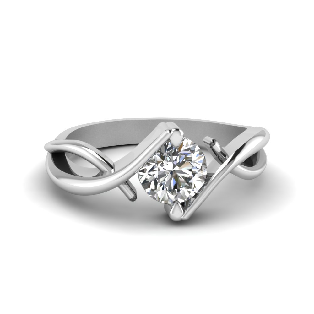 Beautiful Twist Single Diamond Engagement Ring In 18K White Gold