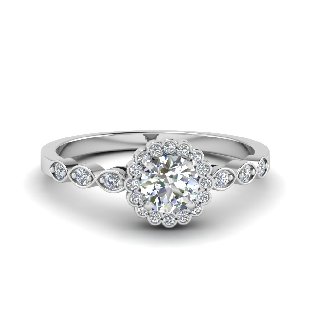 round cut bezel halo diamond engagement ring in FDENS3163ROR NL WG