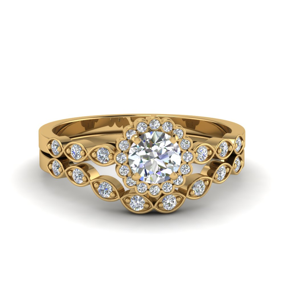 round cut bezel halo diamond ring with matching band in 14K yellow gold FDENS3163RO NL YG