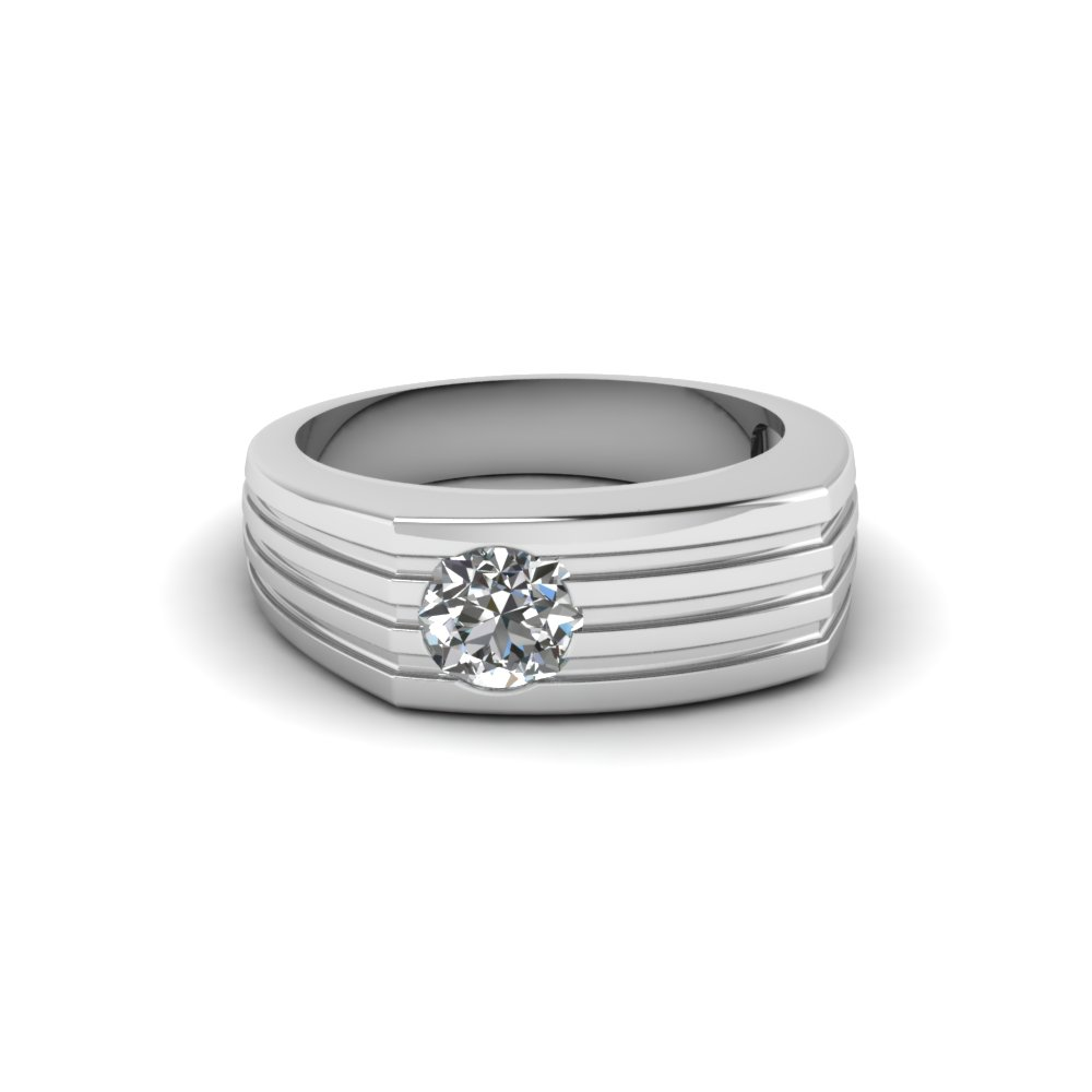 Round Cut Bezel Set Solitaire Diamond Wedding Ring In 14k White Gold
