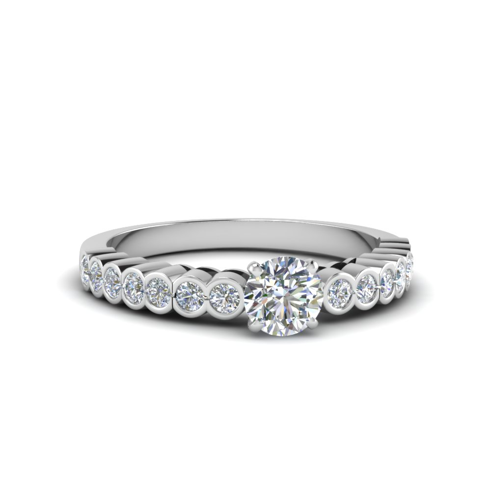 round cut bezel side stone diamond engagement ring in FDENS 3015ROR NL WG