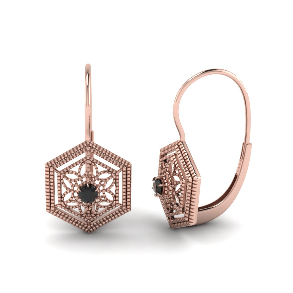Black Diamond Filigree Leverback Earring In Fdear650209gblack Nl Rg Jpg
