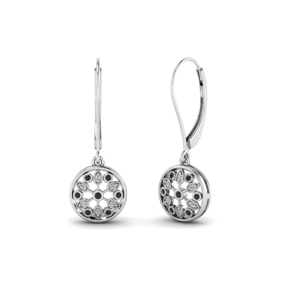 Round Cut Black Diamond Drop Earrings With White In Sterling Silver Fd Ear67993gblack Nl