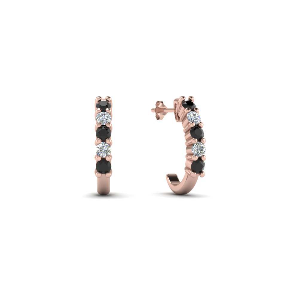Half Huggie Hoop Earring With Black Diamond In Fdear40640gblack Nl Rg
