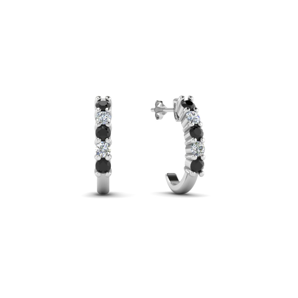 round cut black diamond hoops earrings in 14K white gold FDEAR40640GBLACK NL WG