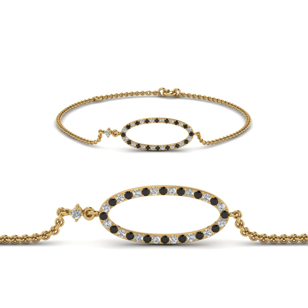 Black Diamond Oval Link Bracelet