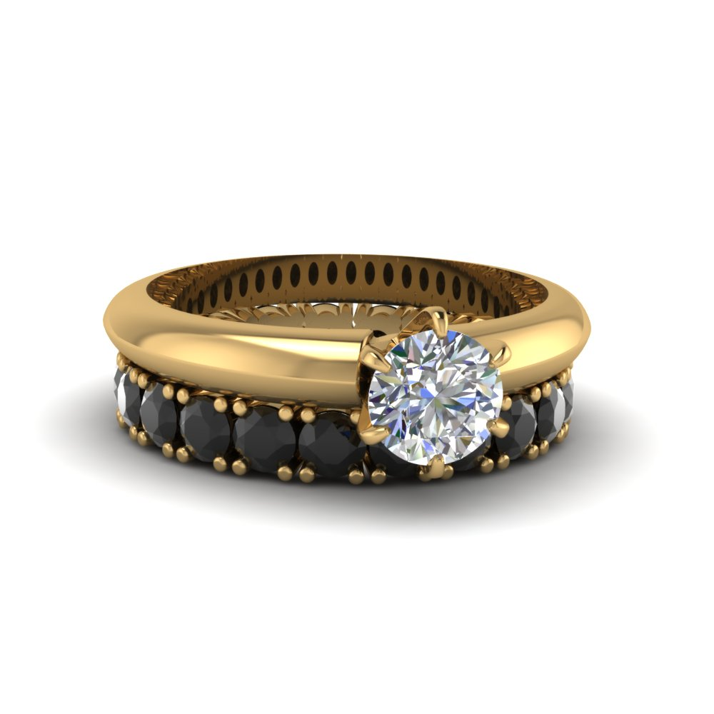 Round Cut Ring With Black Diamond Band