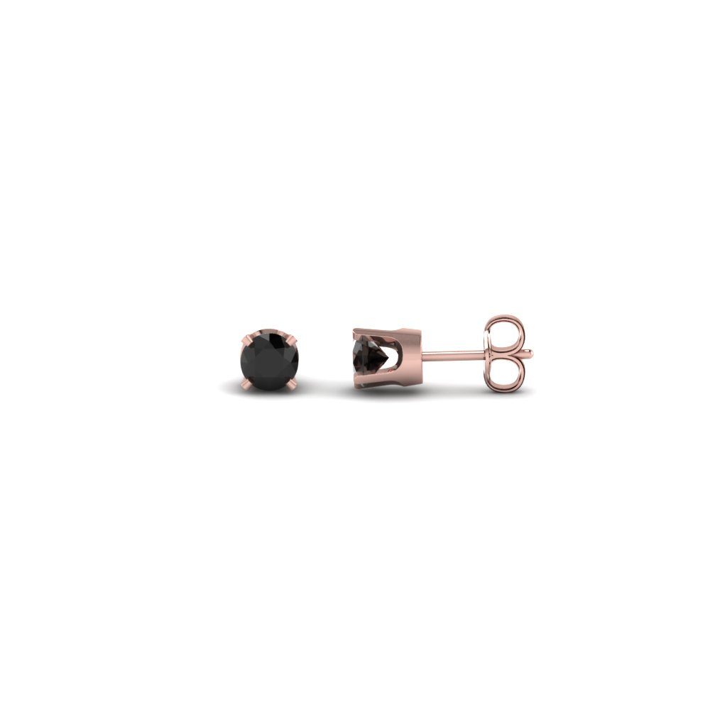 c87c21685 round cut black diamond stud earrings in 14K rose gold FDEARMS4ROGBLACK20CT  NL RG