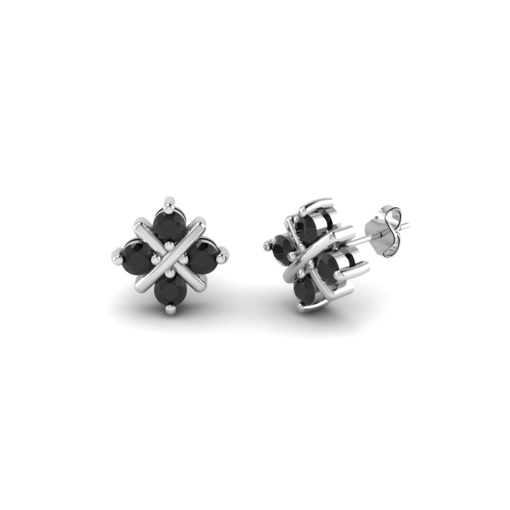 Square Criss Cross Black Diamond Stud Earring In Fdear40004gblack Nl Wg