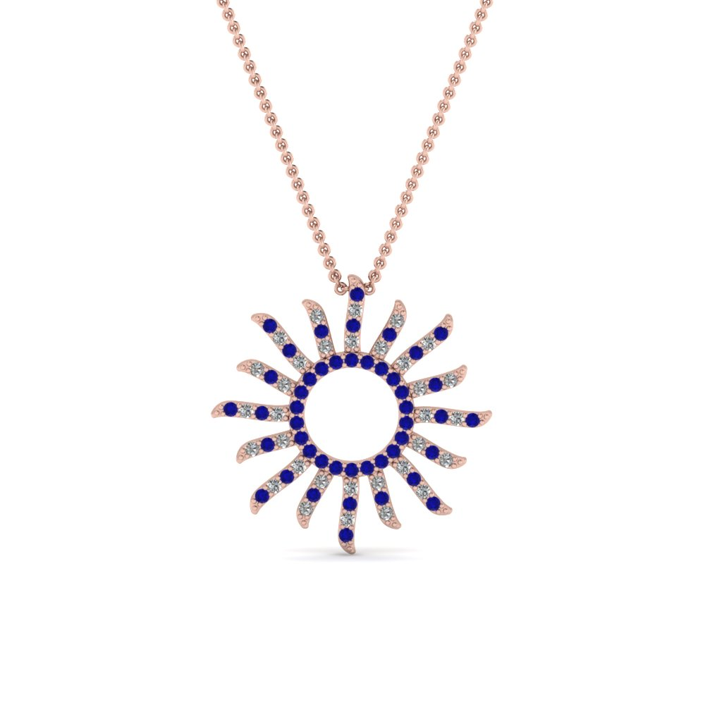 sun design diamond pendant with sapphire in FDPD67120GSABL NL RG