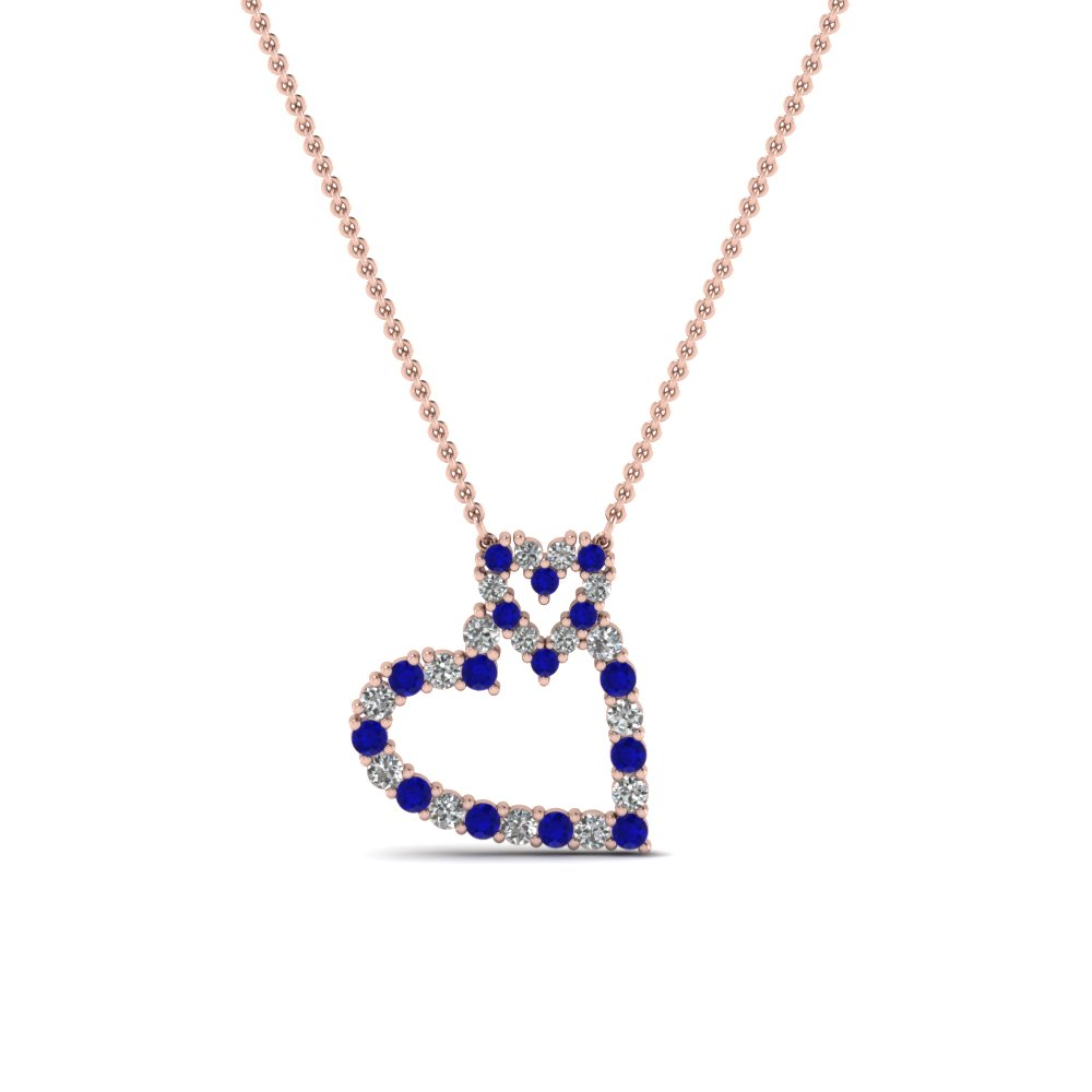 interlinked heart diamond pendant with sapphire in FDHPD343GSABL NL RG