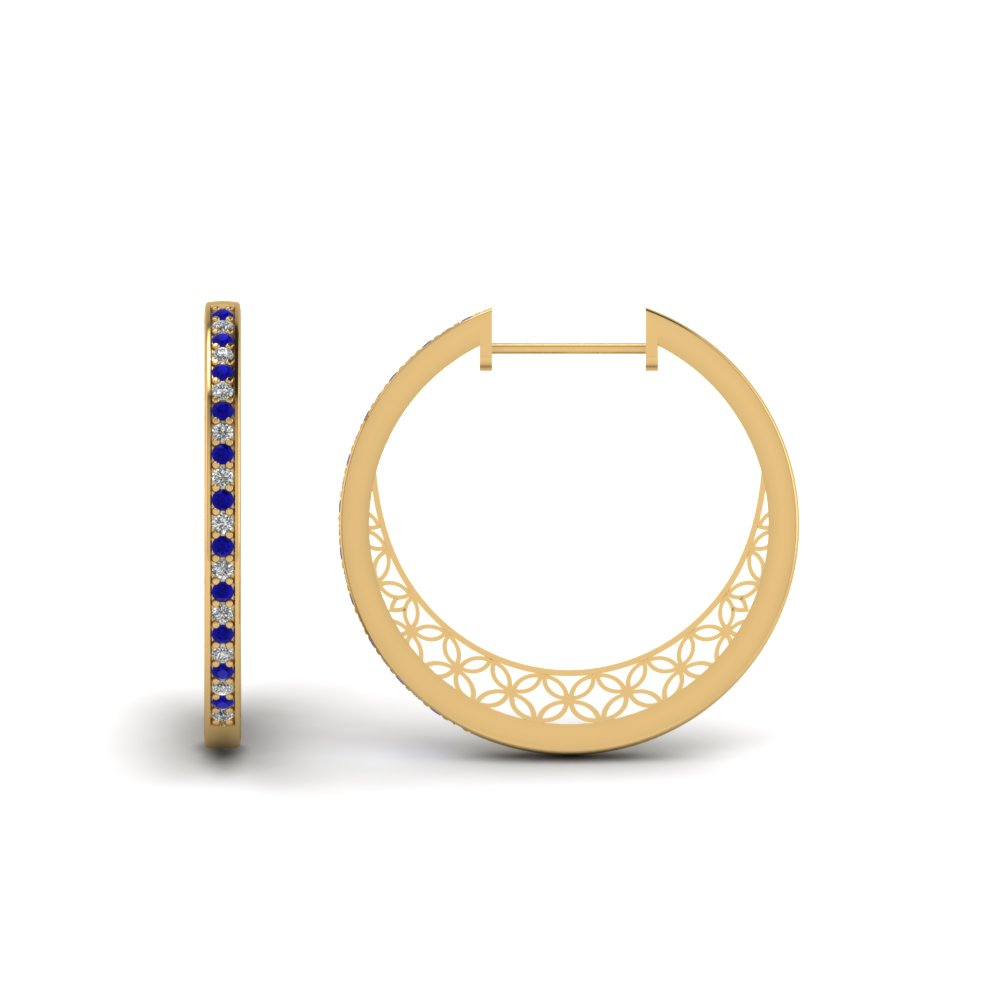 pave small hoop diamond earring with sapphire in FDEAR1108GSABL NL YG.jpg