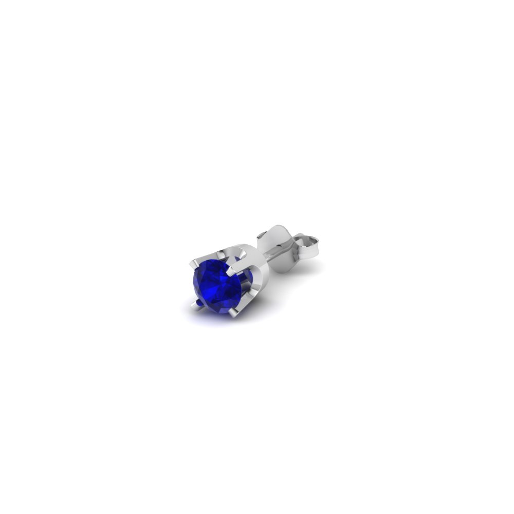 earrings set white blue carat bezel sapphire stud gold saphire