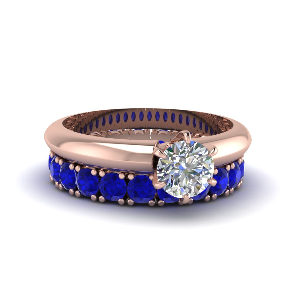 Solitaire Engagement Ring With Sapphire Band
