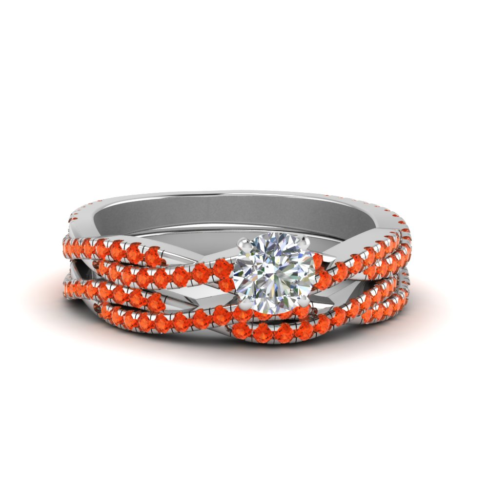 Orange Topaz Twisted Bridal Set