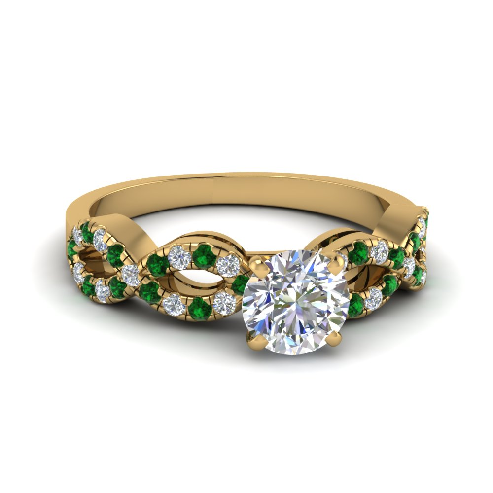 Round Cut Braided Diamond Engagement Ring With Emerald In Fd8062rorgemgr Nl Yg