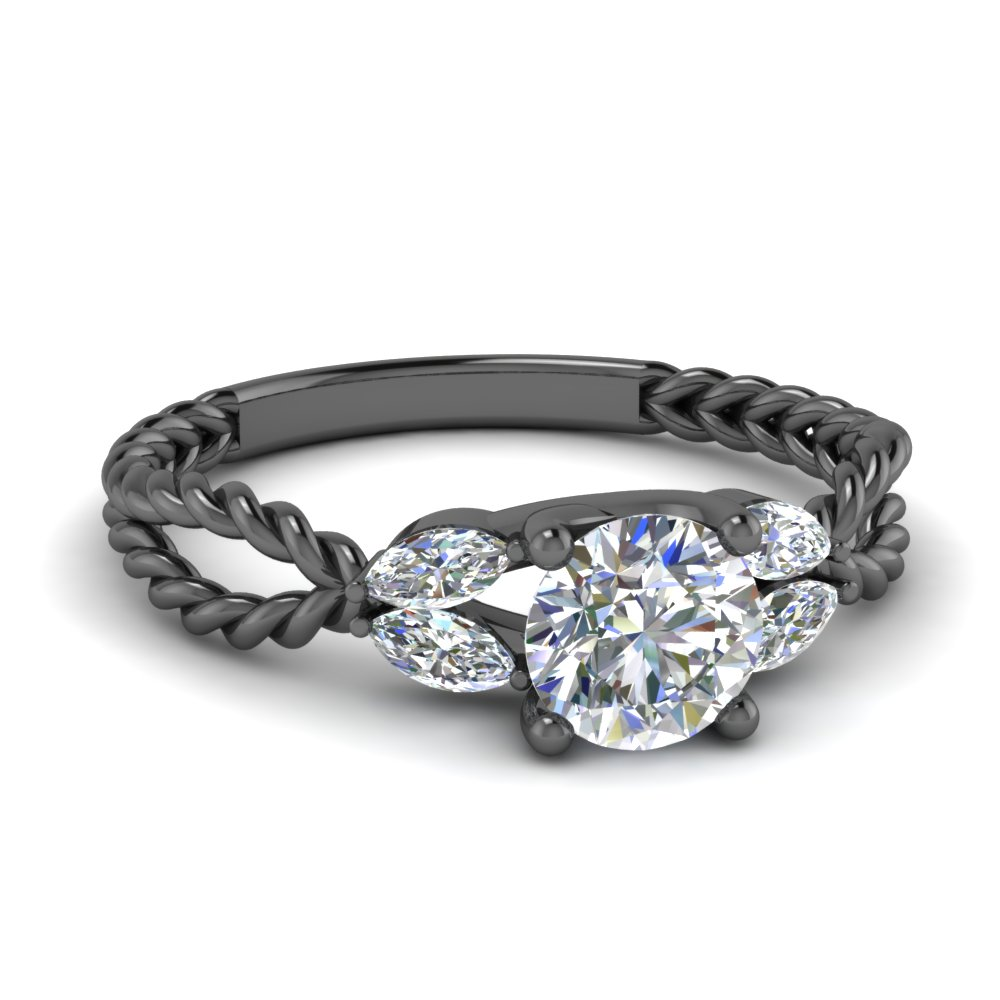 round cut braided diamond ring in FD1084ROR NL BG