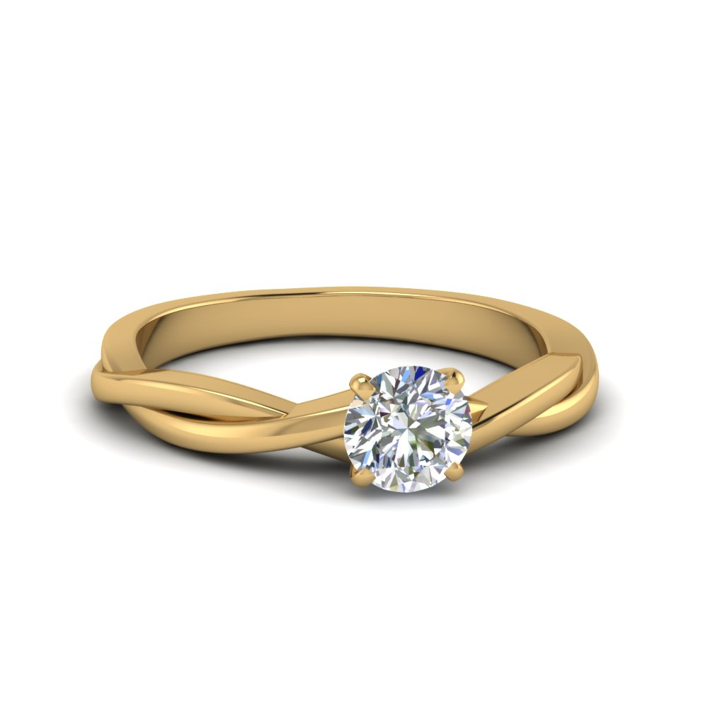 Round Cut Braided Single Diamond Engagement Ring In 14K Yellow ...