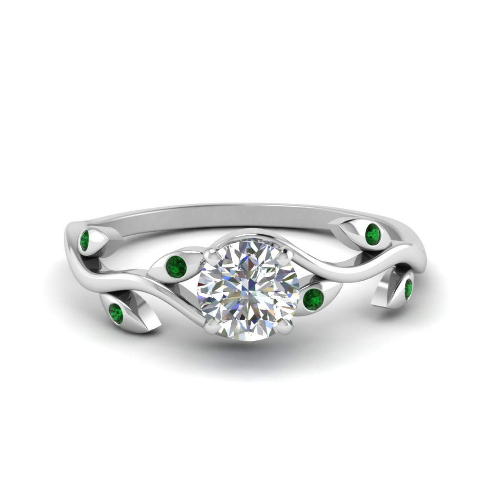 round cut branch diamond wedding ring with emerald in FD8401RORGEMGR NL WG
