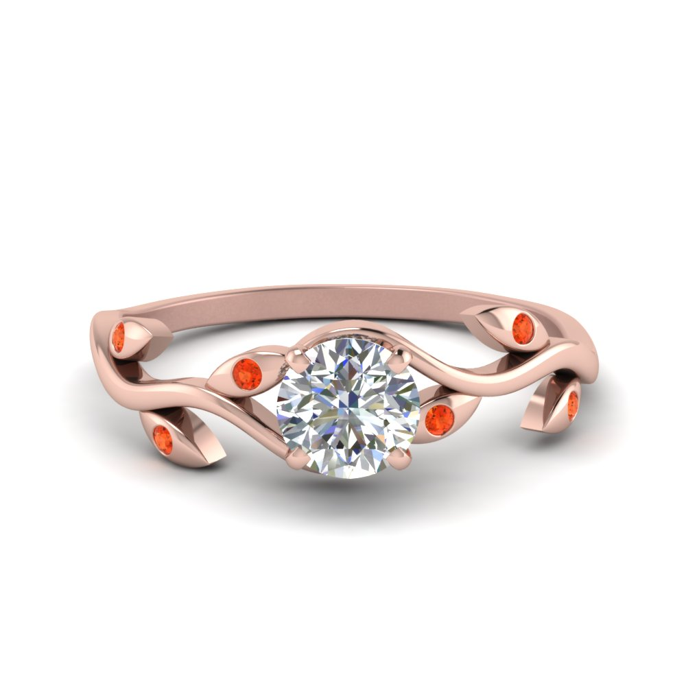 round cut branch diamond wedding ring with orange topaz in FD8401RORGPOTO NL RG