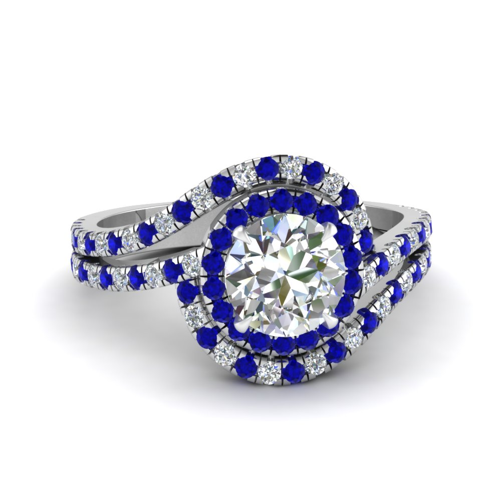 bypass halo diamond engagement ring with sapphire in FDENS3258RORGSABL NL WG