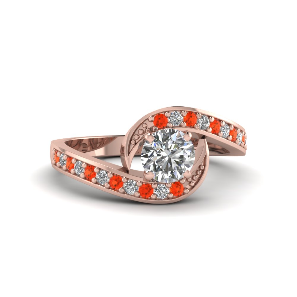 Pave Set Orange Topaz Ring