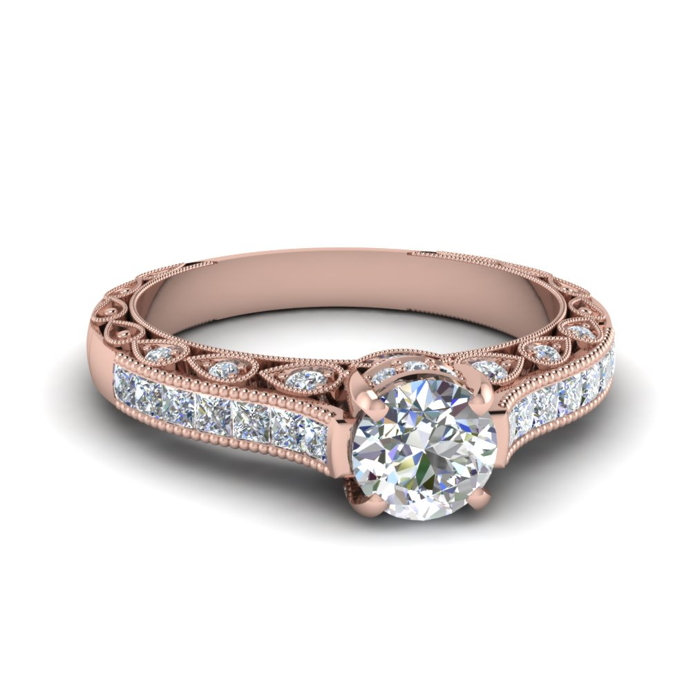 Rose Gold Milgrain Diamond Rings