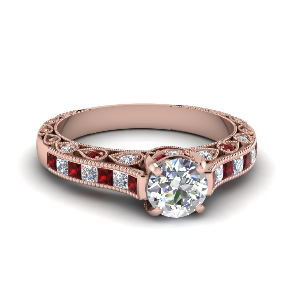 Round Cut Cathedral Setting Vintage Style Diamond Ring With Ruby In 18k  Rose Gold Fdenr6819rorgrudr Nl
