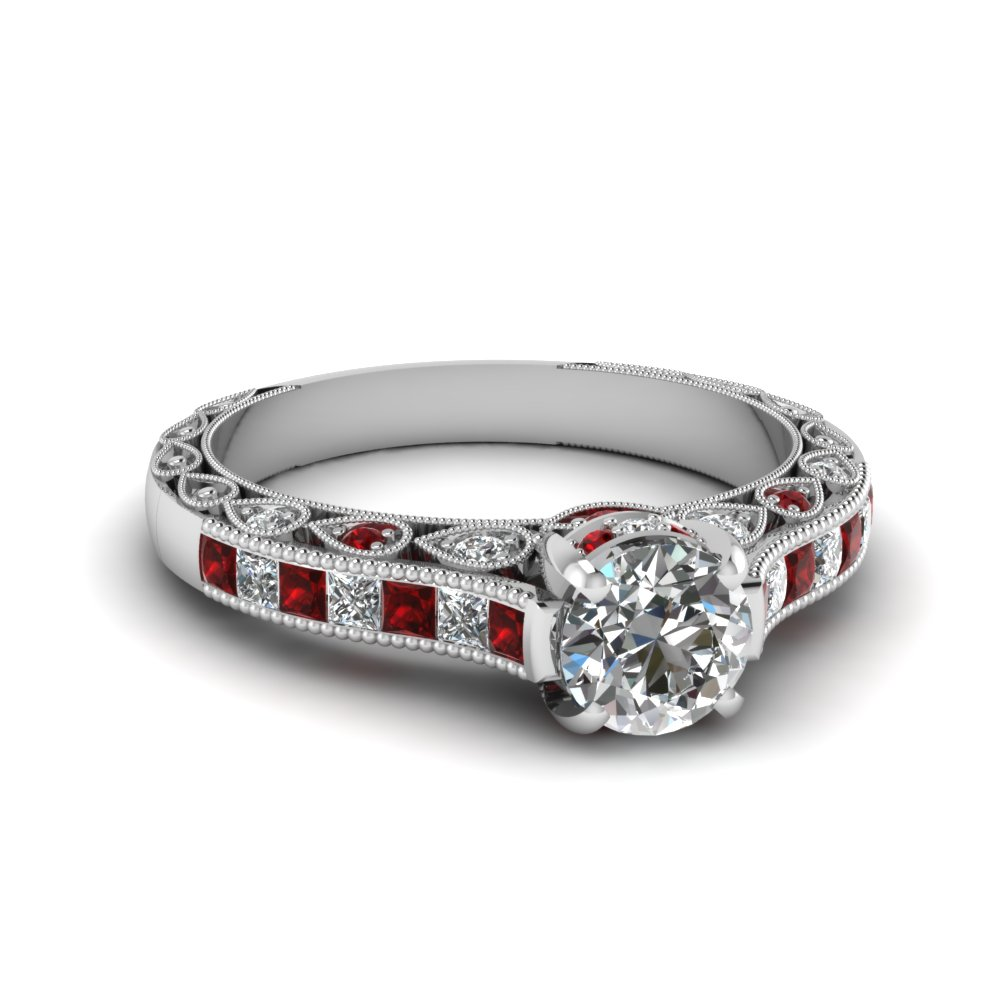 Round Cut Cathedral Milgrain Engagement Ring
