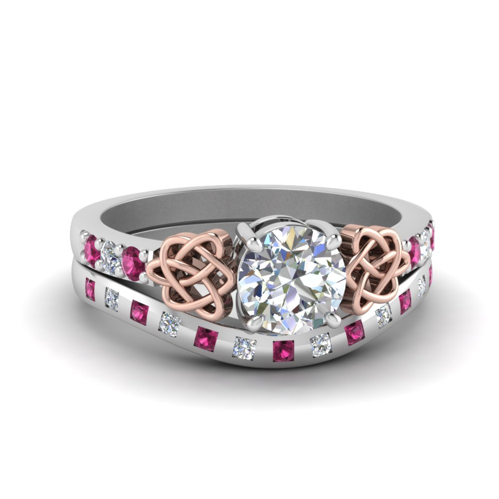 Diamond & Pink Sapphire Wedding Sets