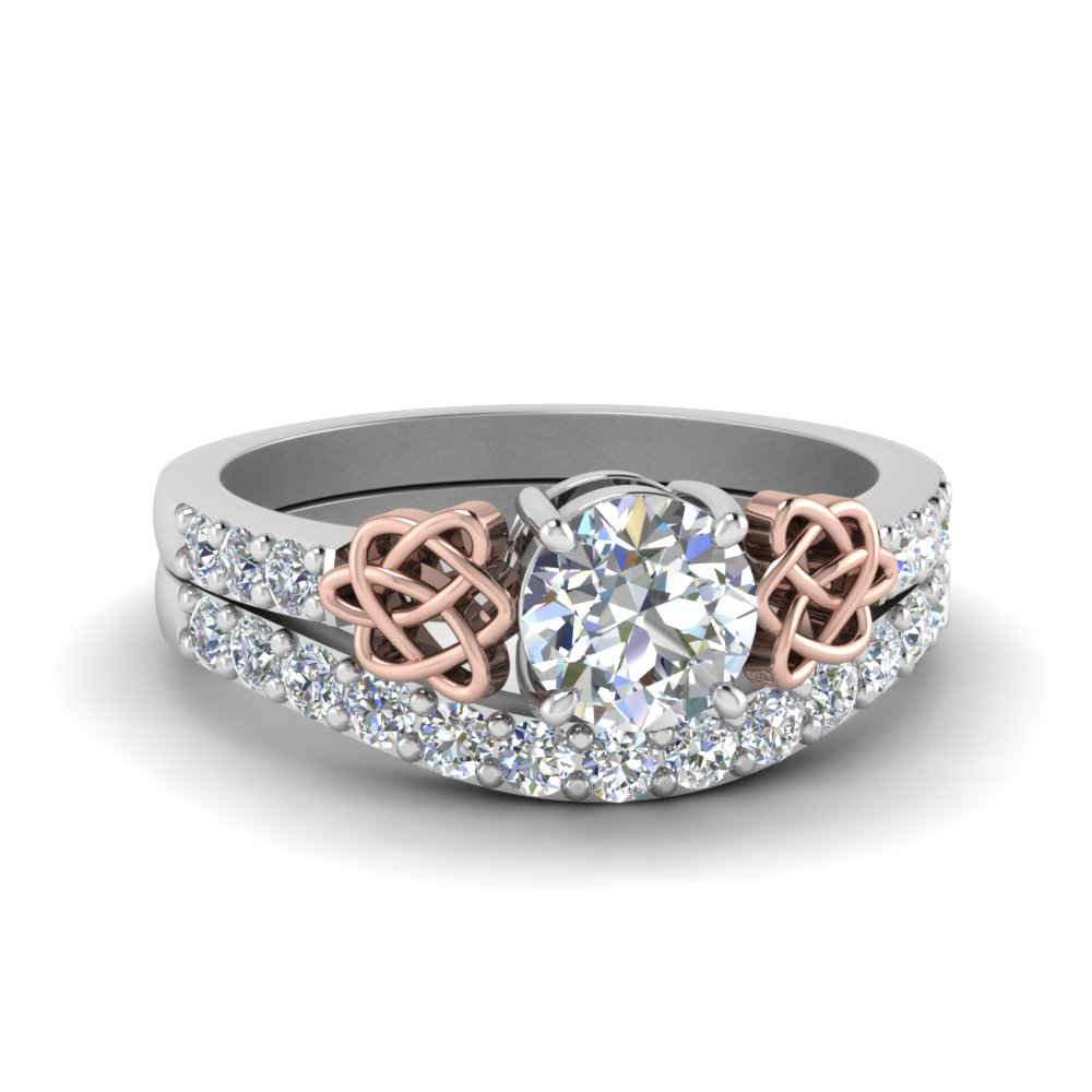 Two Tone Celtic Engagement Ring Set