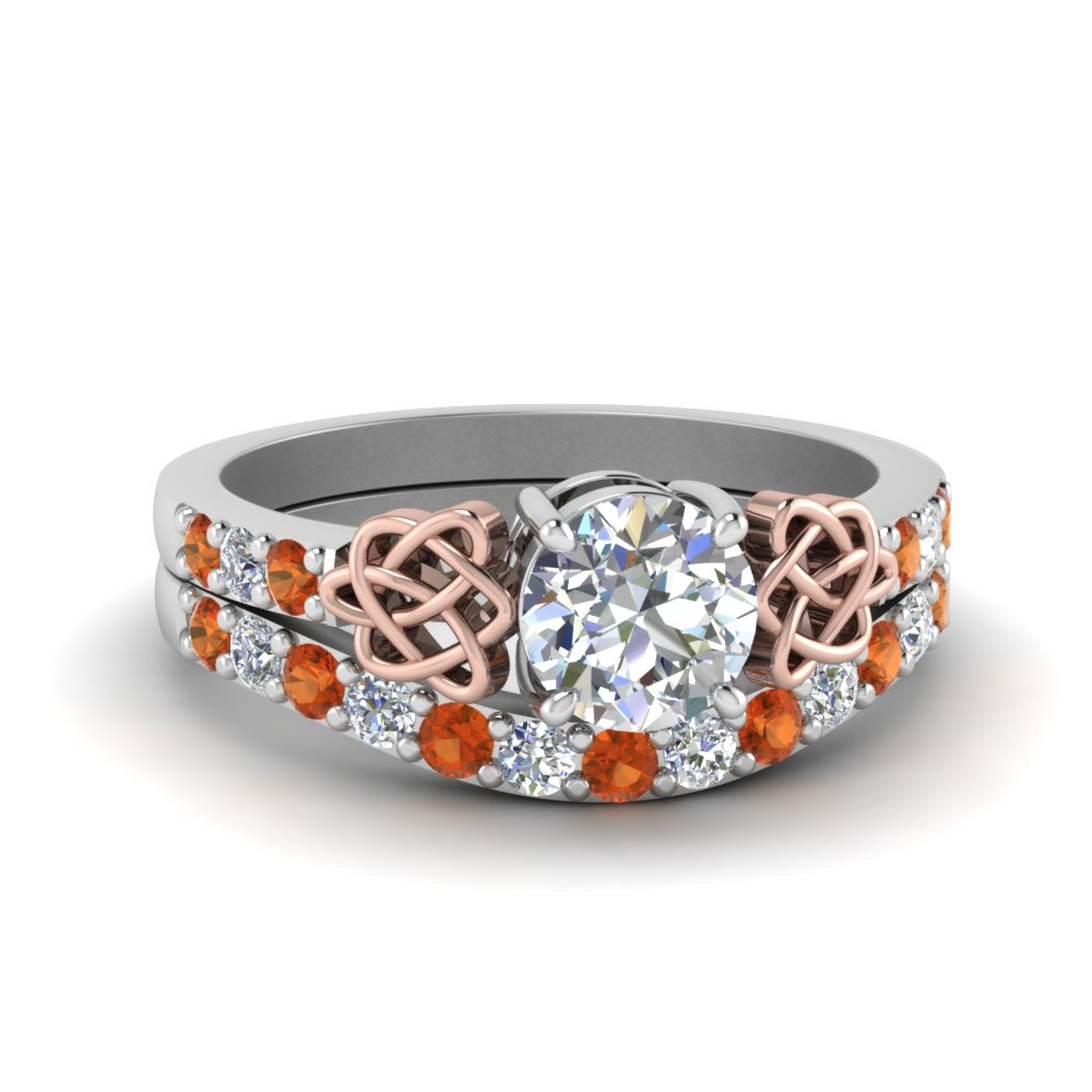 2 Tone Celtic Engagement Ring Set