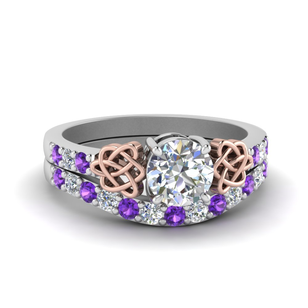 Puple Topaz Celtic Wedding Ring Set