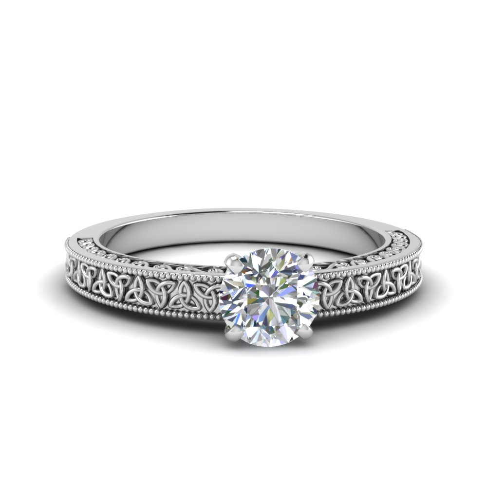 celtic engraved round solitaire engagement ring in FD8544ROR NL WG
