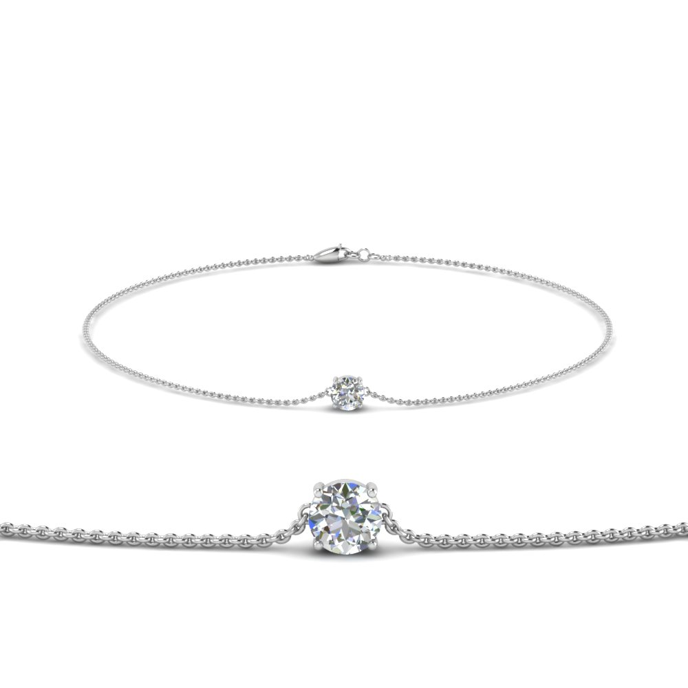 Round Diamond Chain Bracelet In 14K White Gold