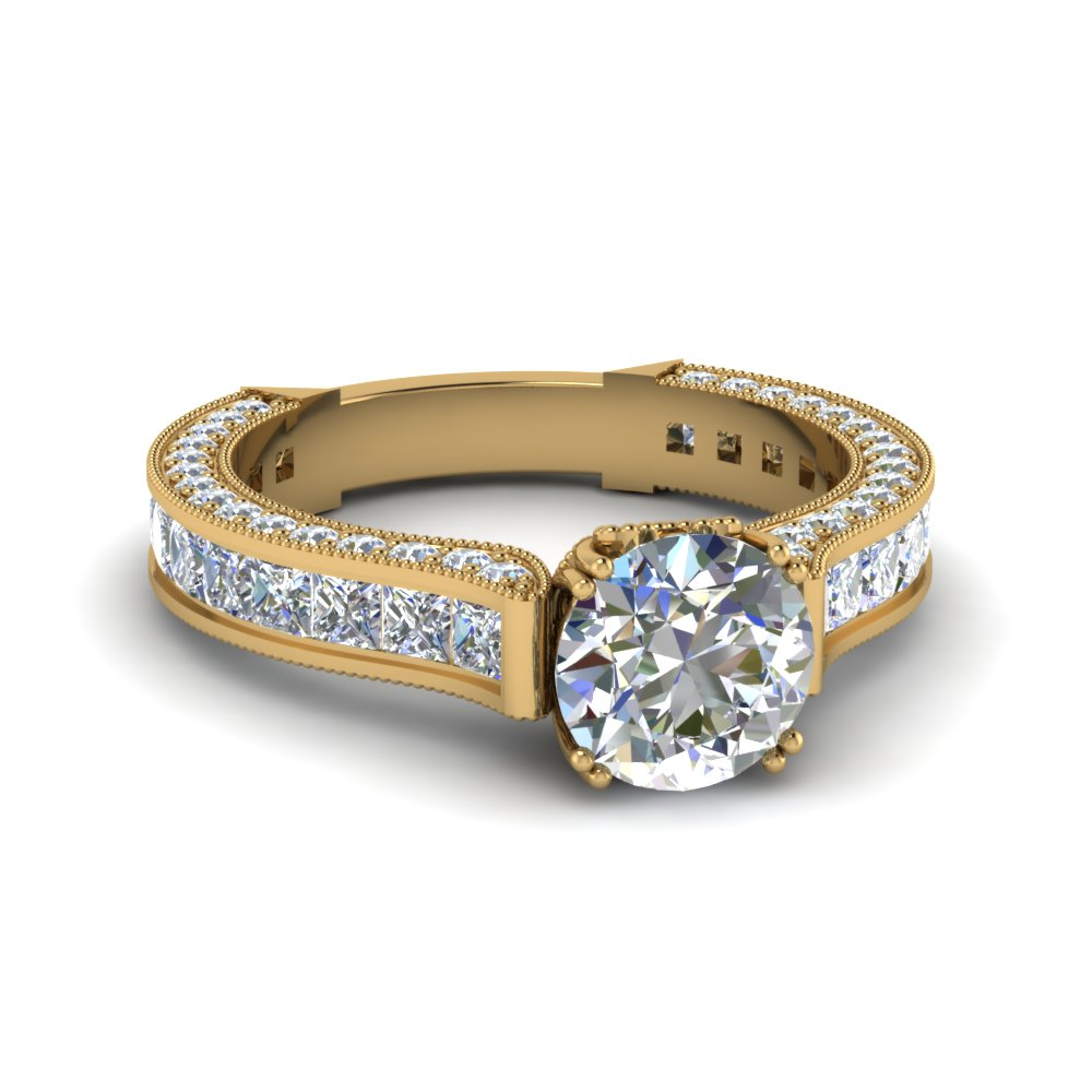 round cut channel and pave diamond side stone engagement ring in 14K yellow gold FDENR7236ROR NL YG