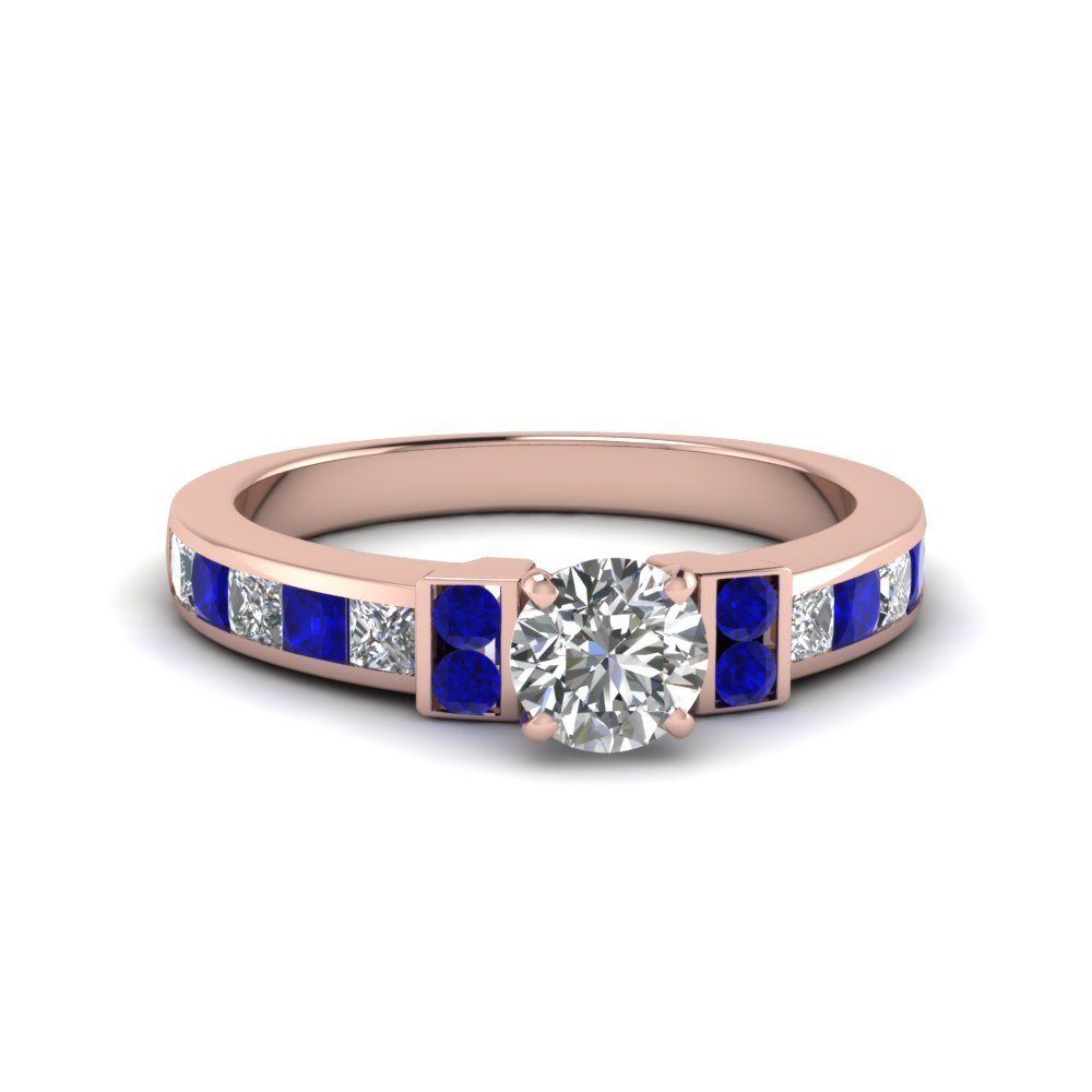round cut channel bar set diamond engagement ring for women with blue sapphire in FDENR989RORGSABL NL RG