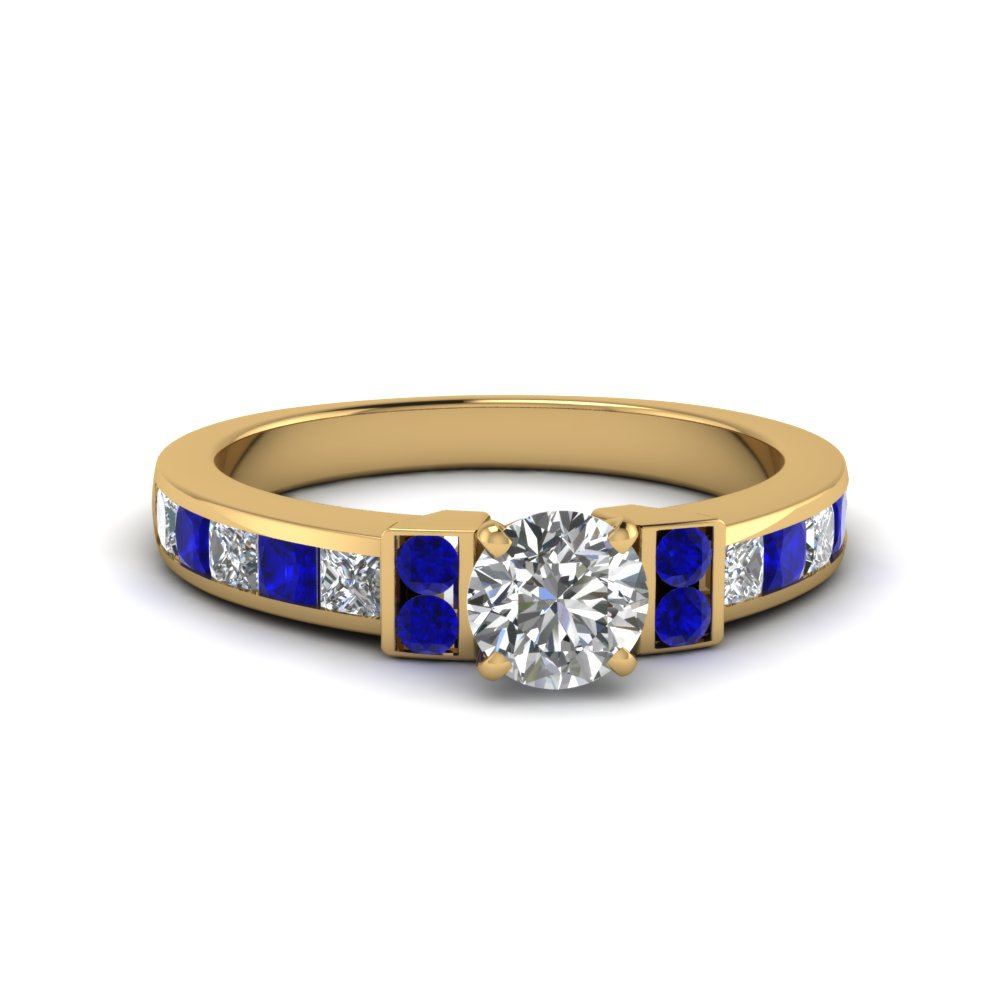round cut channel bar set diamond engagement ring for women with blue sapphire in FDENR989RORGSABL NL YG